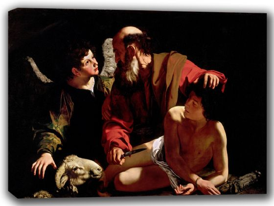 Caravaggio, Michelangelo Merisi da: The Sacrifice of Isaac. Fine Art Canvas. Sizes: A4/A3/A2/A1 (002084)